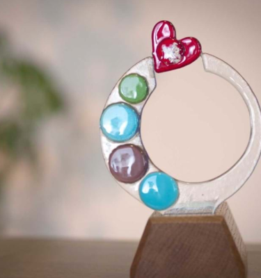 Abstract heart glass memorial sculpture
