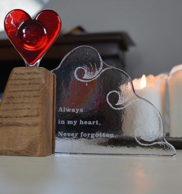 Glass wave with memorial heart by With Love & Light
