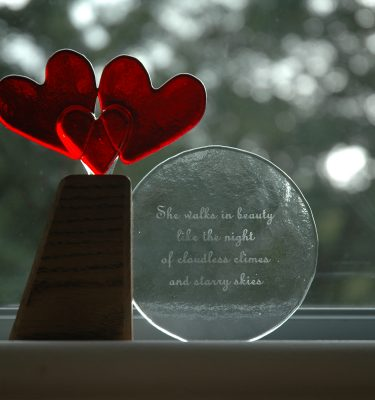 three hearts and an engraving, a memorial piece by With Love & Light