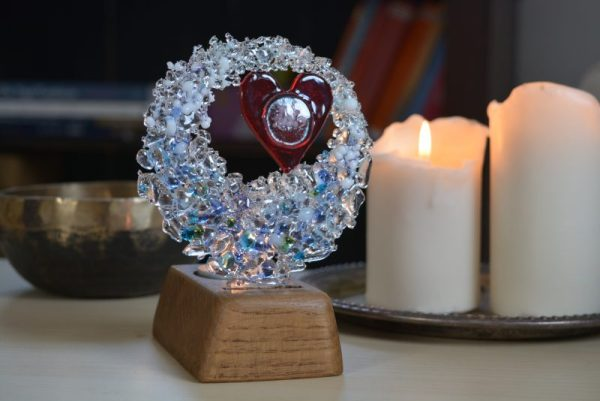 Wave memorial art glass With Love & Light