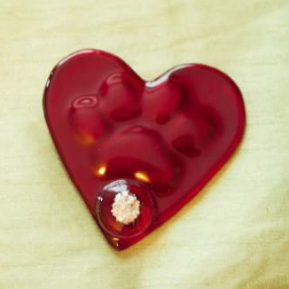 Hand held paw print heart memorial glass