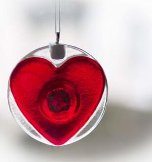 Heart light catcher memorial art glass