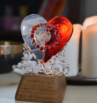 half my heart lives in heaven memorial glass