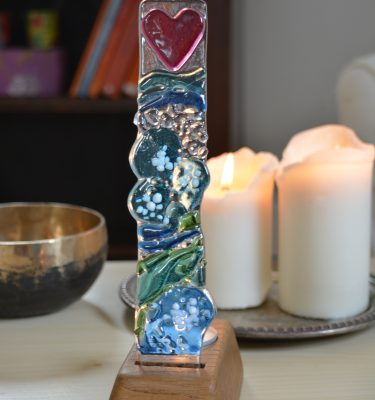 Memorial glass sea glass tower