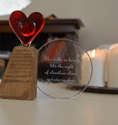 Poem circle with a heart memorial art glass