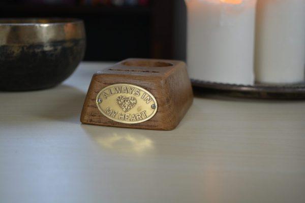 Brass engraving on base